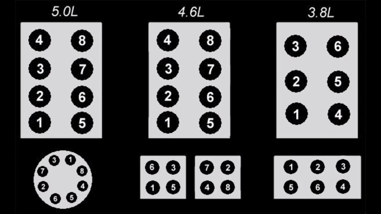 Ford Firing Order  5.0,4.6,3.8,3.9,4.9,7.5,5.8,5.4,351,428,427,406,390,302,289 F150, Mustang